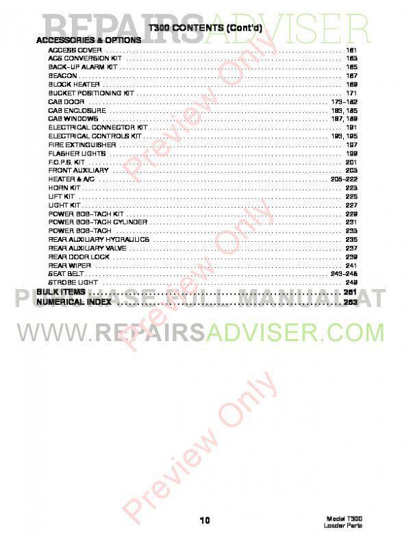 Bobcat T300 Turbo Track Loader Parts Manual PDF, Bobcat Manuals by www.repairsadviser.com
