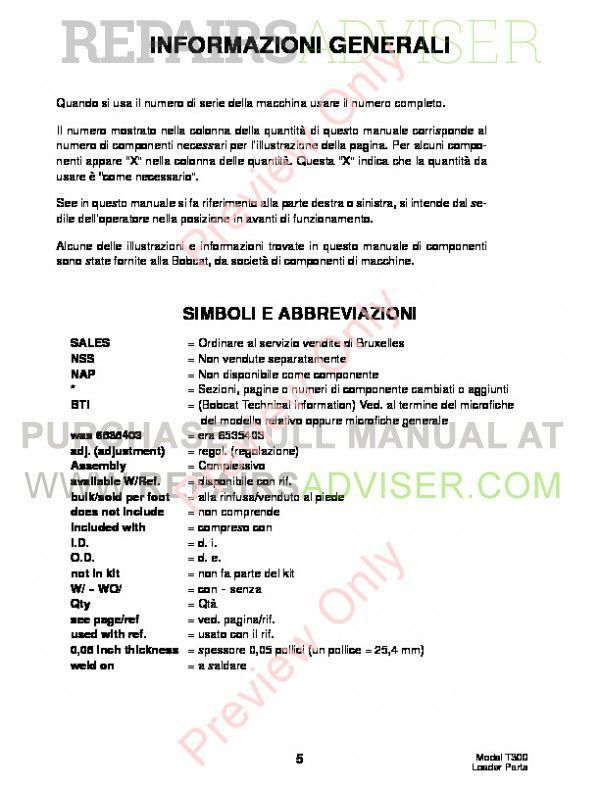 Bobcat T300 Turbo Track Loader Parts Manual PDF, Bobcat Manuals by www.repairsadviser.com