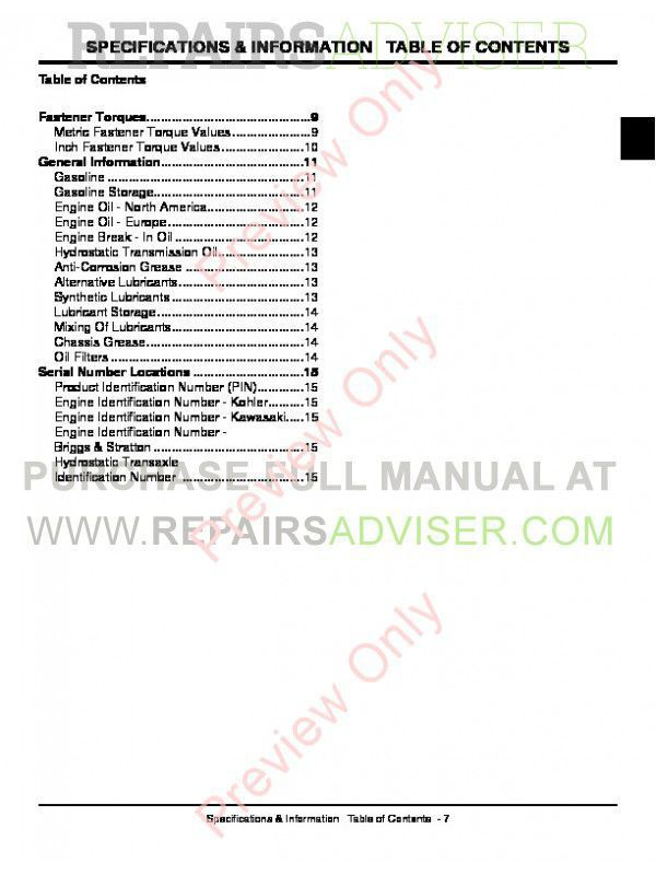 John Deere GT225/235 GT235E GT245Tractor Technical Manual PDF
