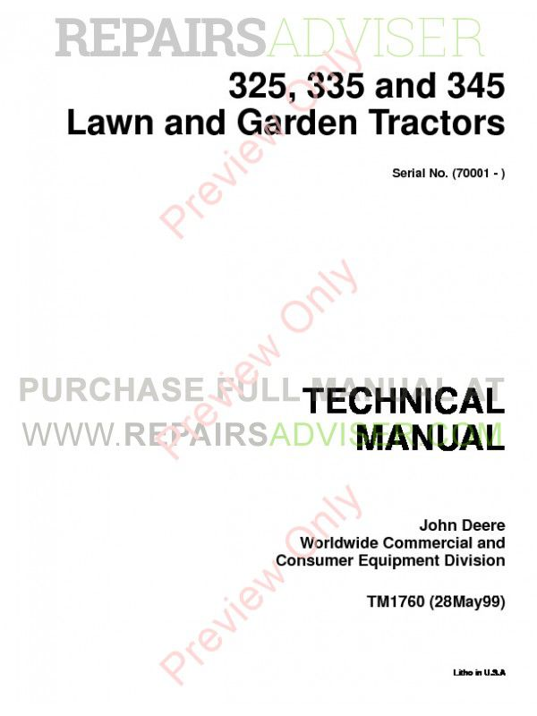 John Deere 325, 335 and 345 Lawn & Garden Tractors Technical Manual TM-1760  PDF