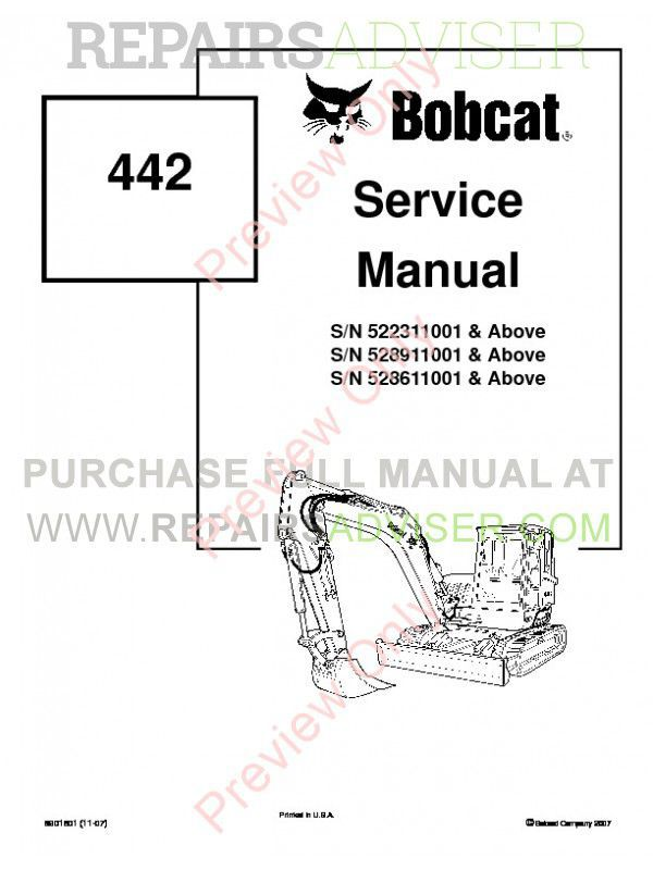 Bobcat 442 Compact Excavator Service Manual PDF, Bobcat Manuals by www.repairsadviser.com