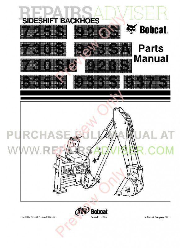 Bobcat 725S, 730S, 730SH, 835S, 923S, 923SA, 928S, 933S, 937S Sideshift Backhoes Parts Manual PDF image #1