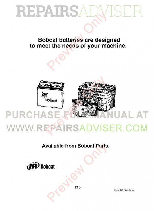 Bobcat 725S, 730S, 730SH, 835S, 923S, 923SA, 928S, 933S, 937S Sideshift Backhoes Parts Manual PDF, Bobcat Manuals by www.repairsadviser.com