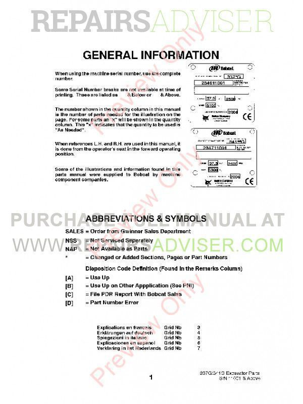 Bobcat 337, 341 G-Series Preliminary Excavator Parts Manual PDF, Bobcat Manuals by www.repairsadviser.com