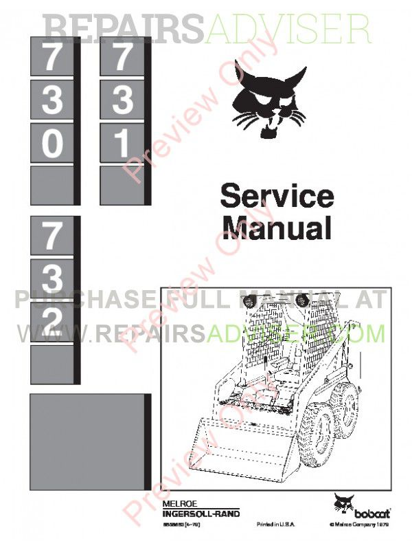 Bobcat 730, 731, 732 Skid Steer Loader Service Manual PDF