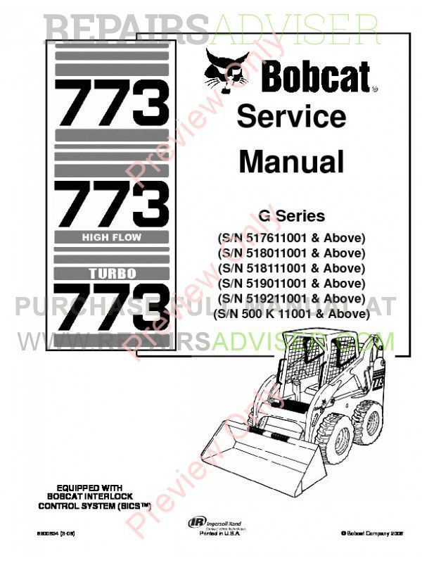 Bobcat 773, 773 HF, 773 Turbo G-Series Service Manual PDF image #1