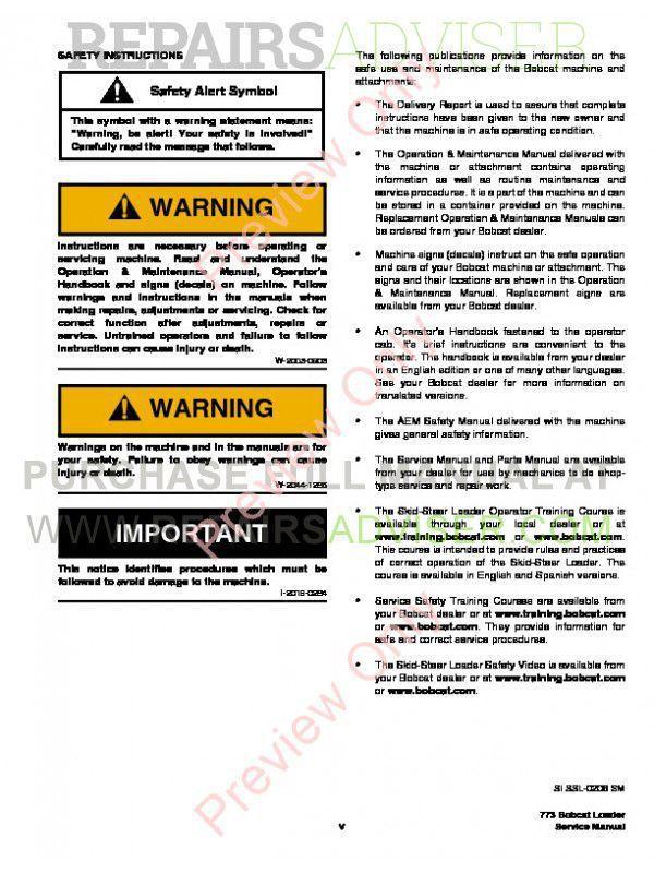 Download bobcat 773 parts Manual