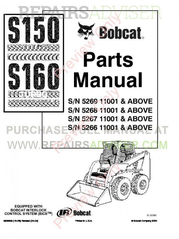 Bobcat S150, S160 Turbo Skid Steer Loader Parts Manual PDF, Bobcat Manuals by www.repairsadviser.com