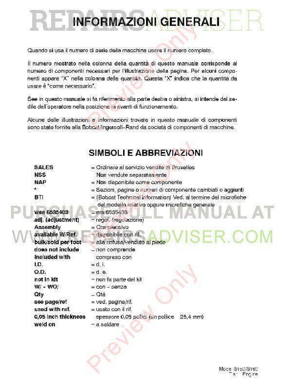 Bobcat S150, S160 Turbo Skid Steer Loader Parts Manual PDF, Bobcat Manuals by www.repairsadviser.com