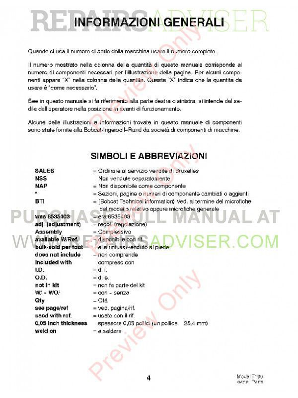 Bobcat T190 Turbo Tracked Skid Steer Loader Parts Manual PDF, Bobcat Manuals by www.repairsadviser.com