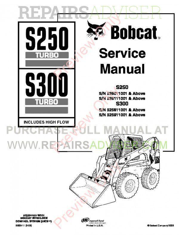 Bobcat S250, S300 Turbo (Includes High Flow) Service Manual PDF