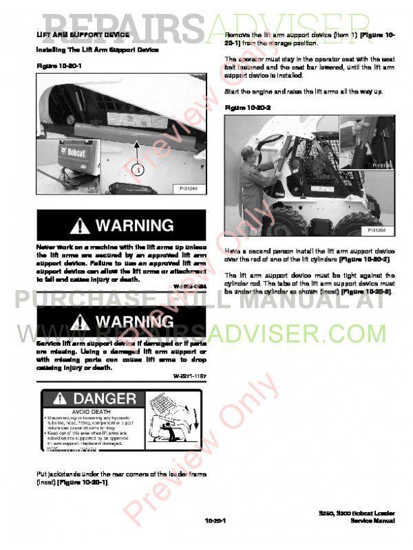 Bobcat S250, S300 Turbo (Includes High Flow) Service Manual PDF, Bobcat Manuals by www.repairsadviser.com