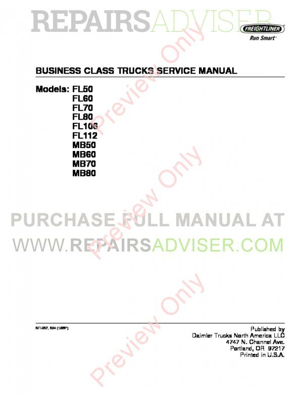 Freightliner Business Class Trucks FL and MB Series Service Manual PDF