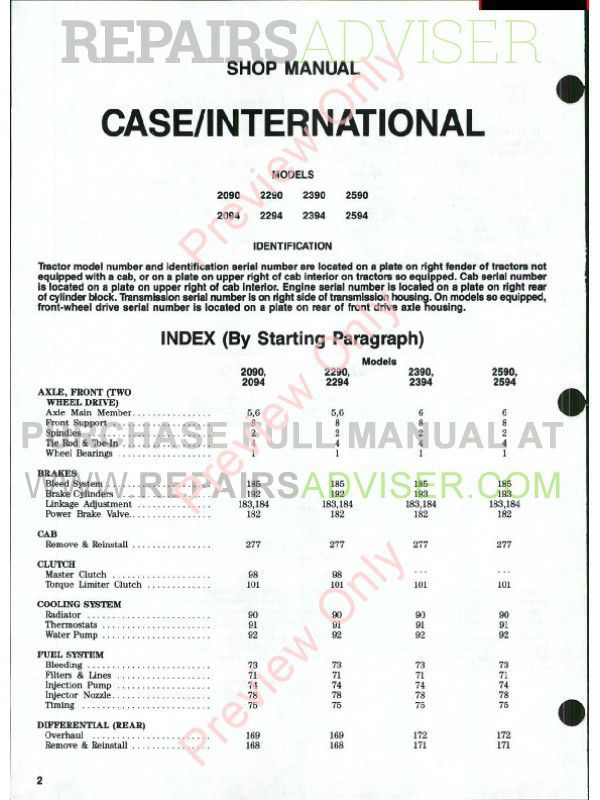 Case IH Tractors 2090/2094 2290/2294 2390/2394 2590/2594 Shop Manual PDF image #1