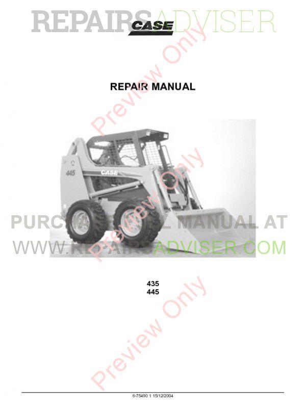 Case 435, 445 Skid Steer Loader Repair Manual PDF, Case Manuals by www.repairsadviser.com