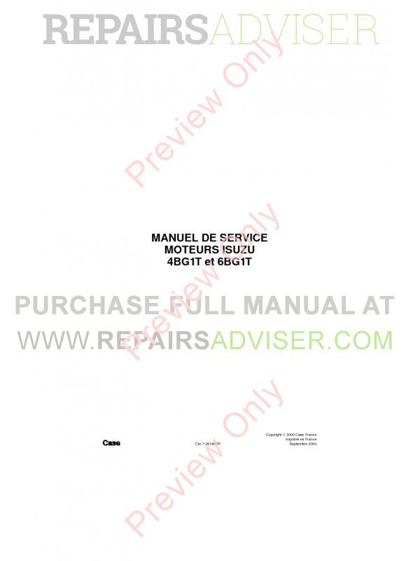 Case Isuzu Engines 4BG1T & 6BG1T Service Manual PDF