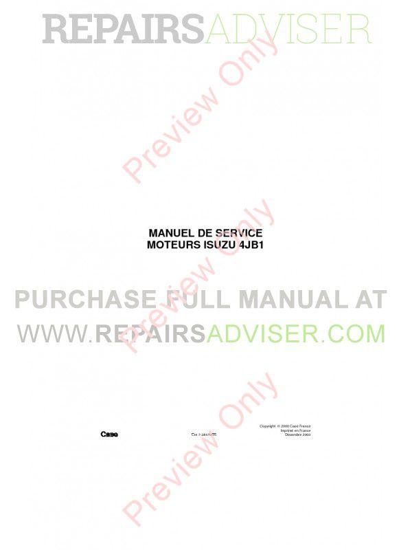 Case Isuzu Engines 4JB1 Service Manual PDF image #1