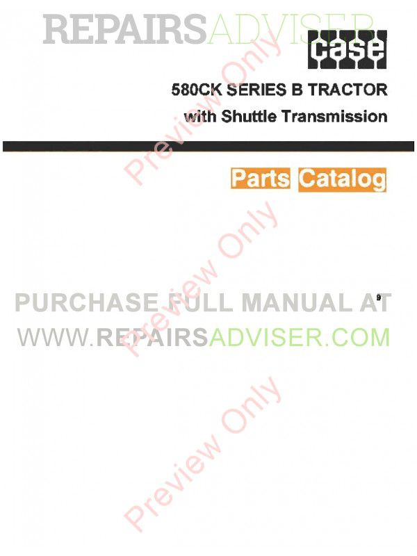 Case 580CK Series B Tractor with Shuttle Transmission Parts Catalog PDF image #1