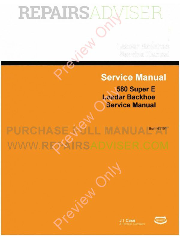 Case 580 Super E Loader Backhoe Service Manual PDF image #1