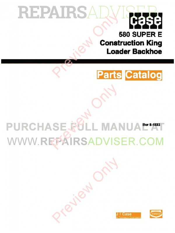 Case 580 Super E Construction King Loader Backhoe Parts Catalog PDF