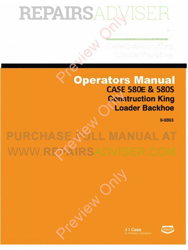Case 580E & 580S Construction King Loader Backhoe Operators Manual PDF image #1