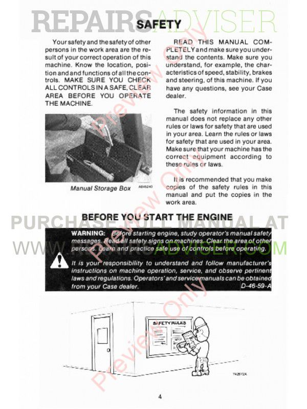 Case 580E & 580S Construction King Loader Backhoe Operators Manual PDF, Case Manuals by www.repairsadviser.com