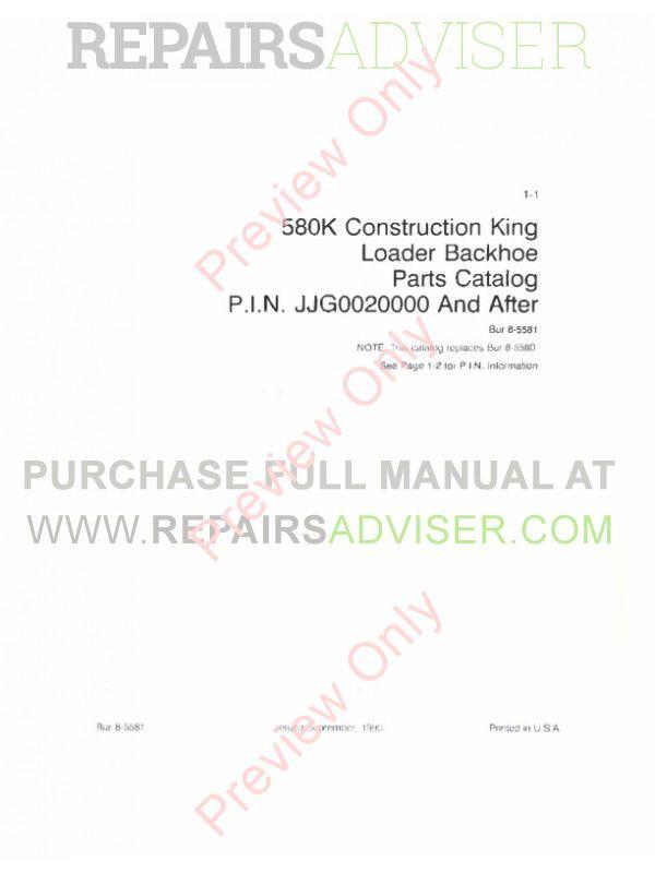 Case 580K Construction King Backhoe Loader Parts Catalog PDF image #1
