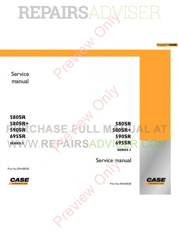 Case 580SR 580SR+ 590SR 695SR Series 3 Loader Backhoe Service Manual PDF image #1