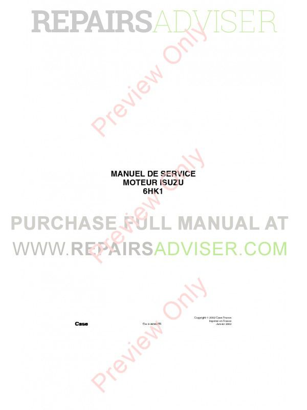 Case Isuzu Engine 6HK1 Service Manual PDF