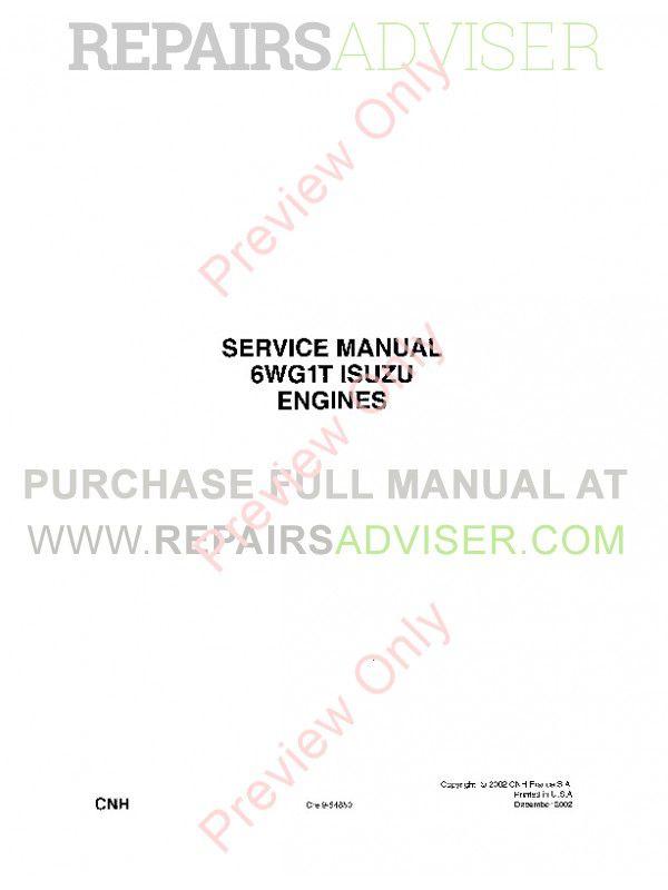 Case Isuzu Engines 6WG1T Service Manual PDF