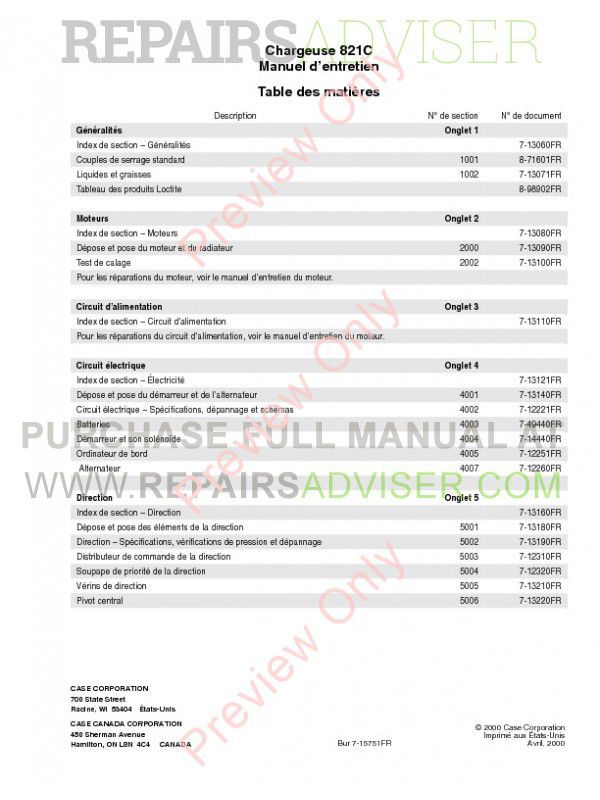 Case 821C Wheel Loader Service Manual PDF