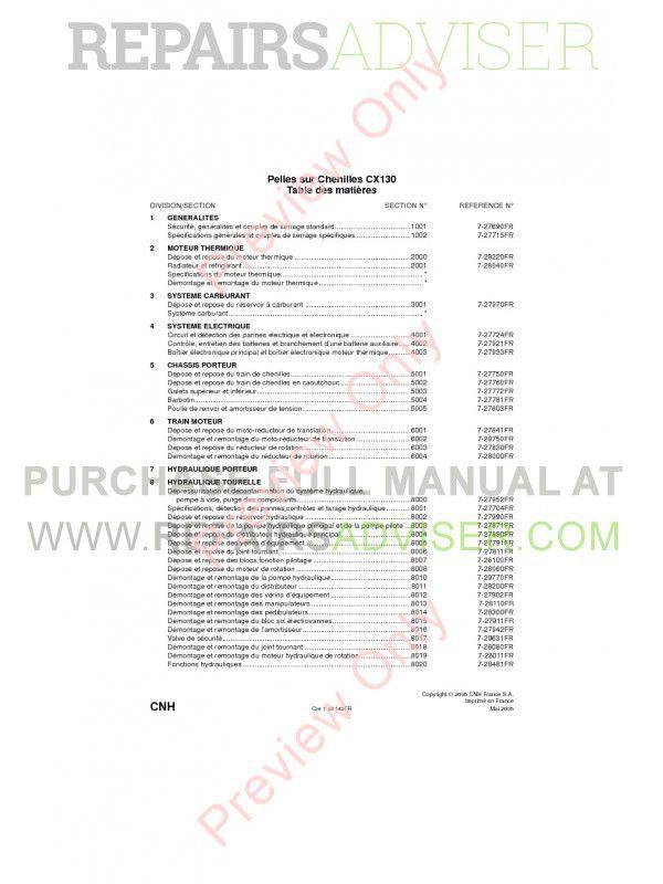 Case CX130 Crawler Excavators Service Manual PDF image #1