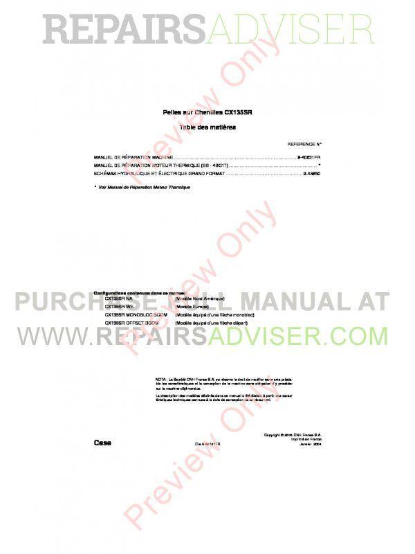 Case CX135SR Crawler Excavator Repair Manual PDF image #1