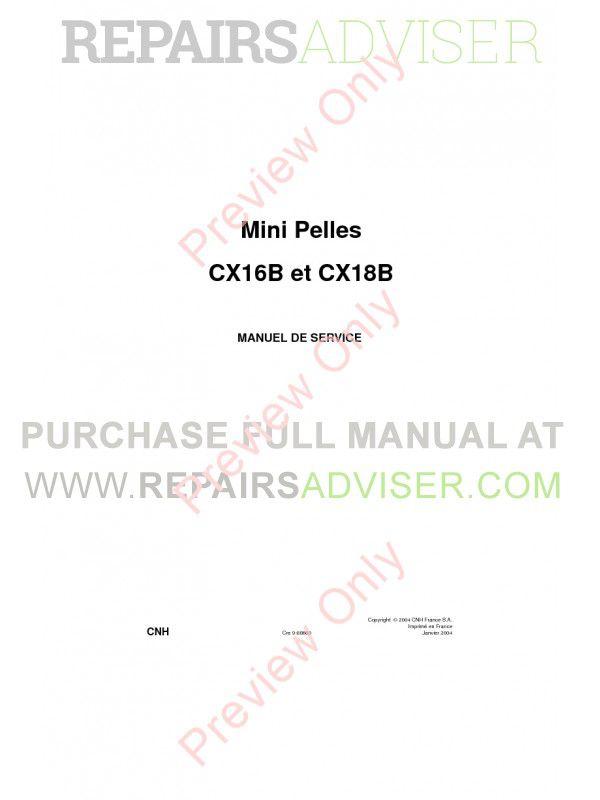Case CX16B and CX18B Mini Excavators Service Manual PDF