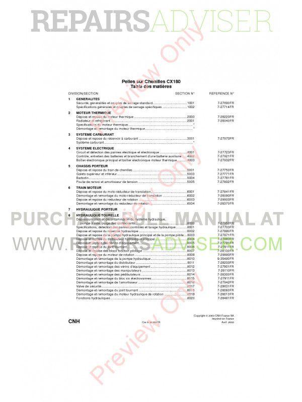 Case CX180 Crawler Excavators Service Manual PDF