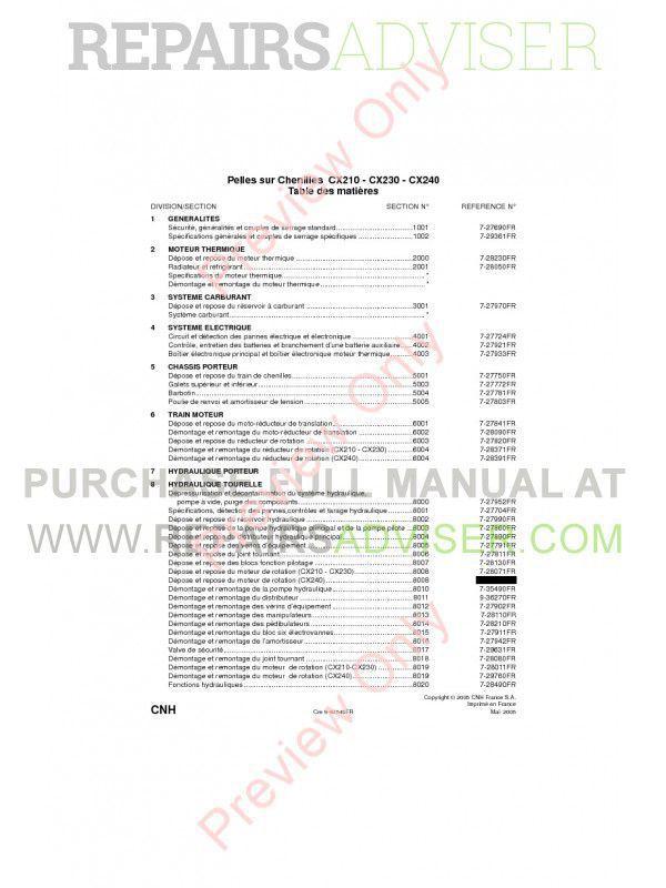 Case CX210 - CX230 - CX240 Crawler Excavators Service Manual PDF image #1