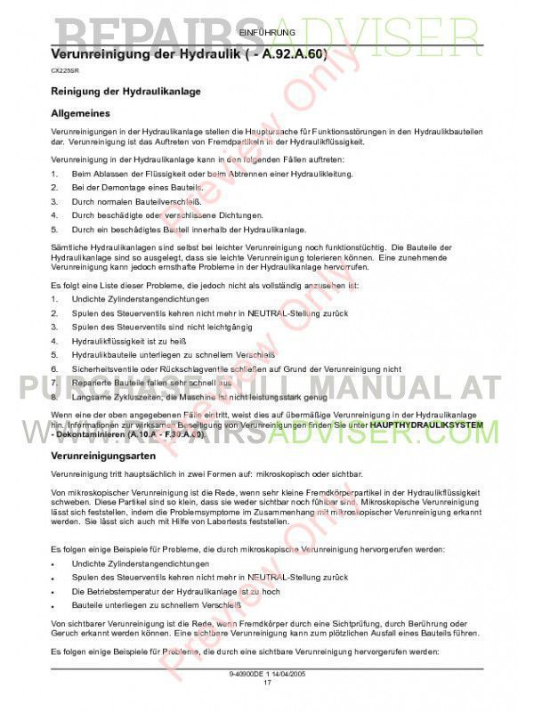 Case CX225SR Crawler Excavator Repair Manual PDF, Case Manuals by www.repairsadviser.com