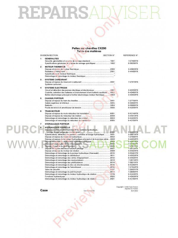 Case CX290 Crawler Excavator Repair Manual PDF image #1