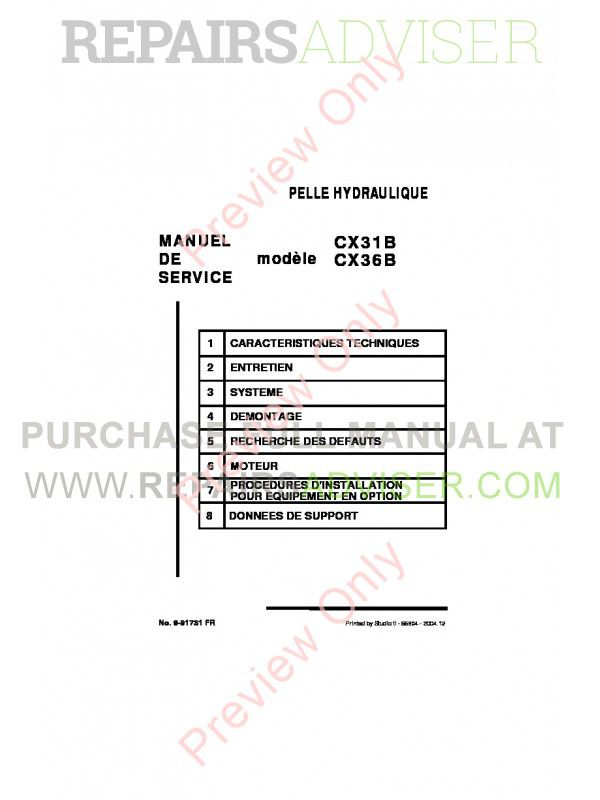 Case CX31B, CX36B Hydraulic Excavator Shop Manual PDF image #1