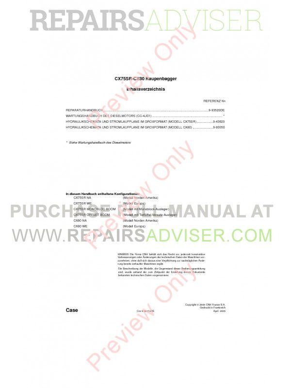 Case CX75SR-CX80 Crawler Excavators Service Manual PDF image #1