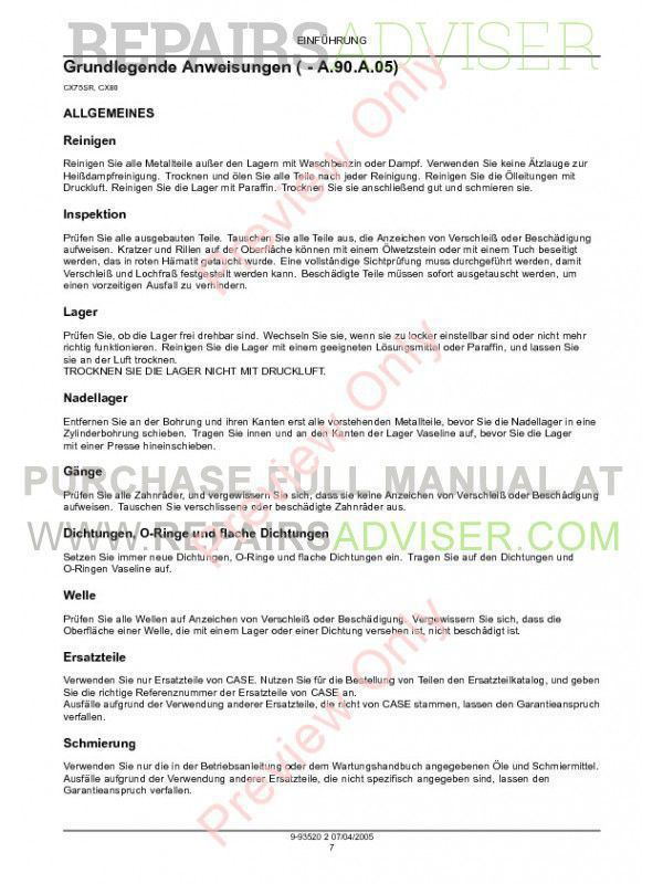 Case CX75SR-CX80 Crawler Excavators Service Manual PDF, Case Manuals by www.repairsadviser.com