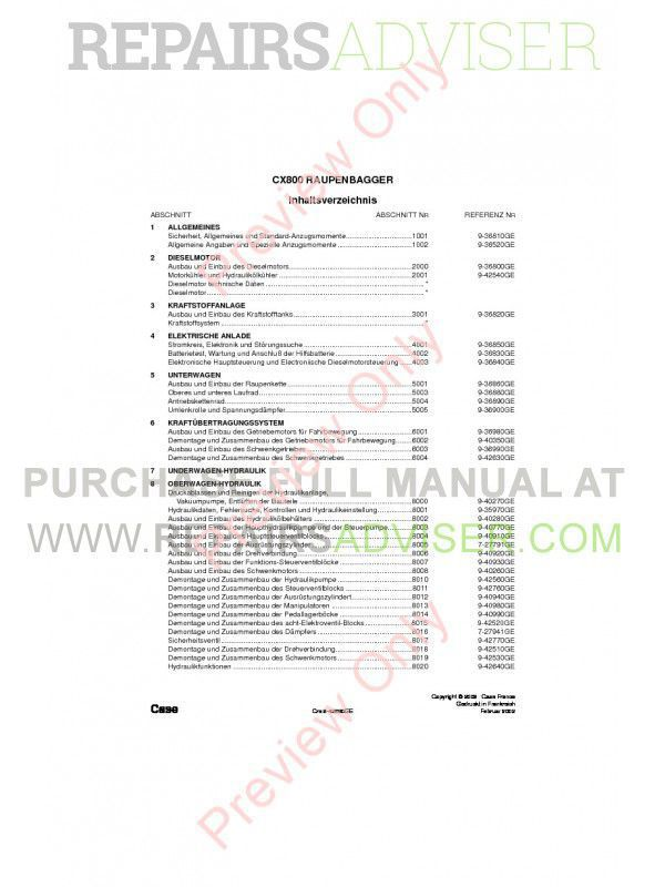 Case CX800 Crawler Excavators Repair Manual PDF image #1