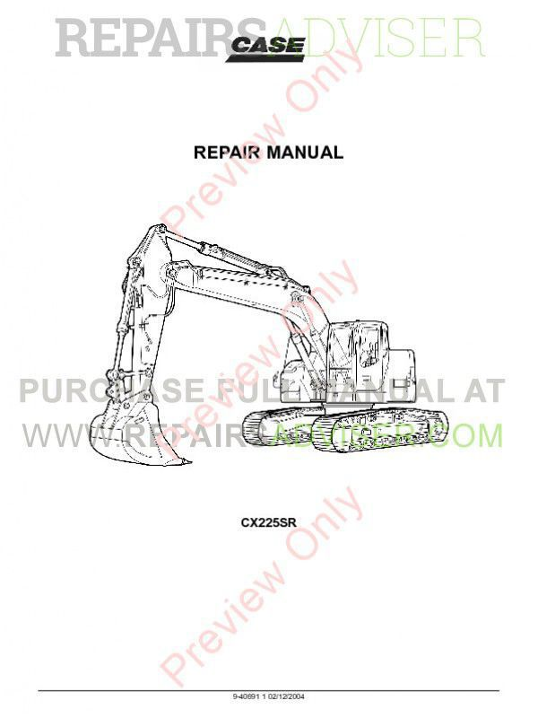Case CX225SR Crawler Excavator Repair Manual PDF image #1