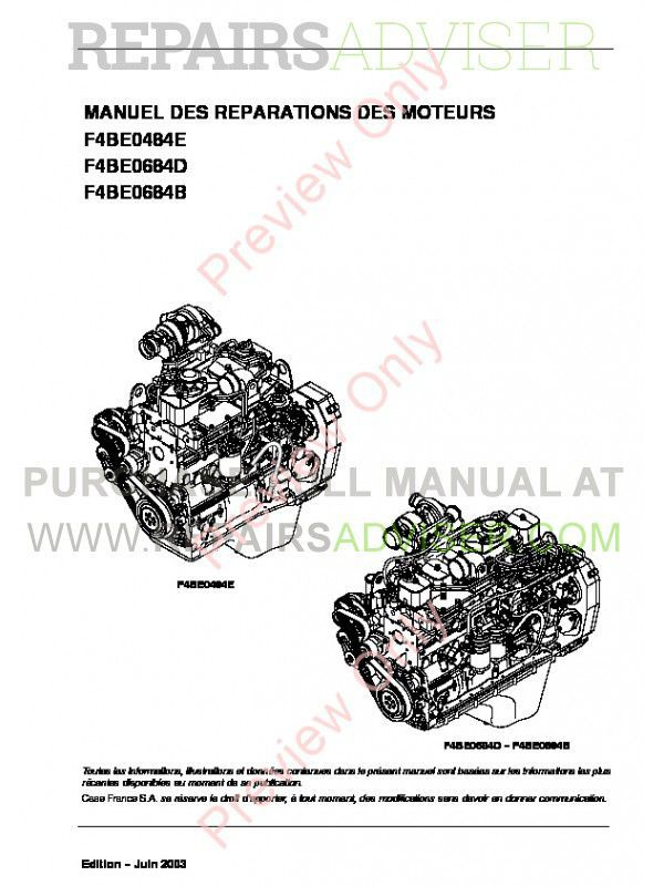 Case Iveco NEF Engines F4BE0454E-F4BE0484D-F4BE0484E-F4BE0684B Repair Manual for CNH U.K. image #1