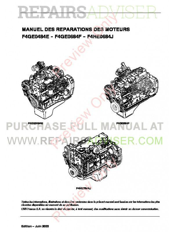Case F4GE0484E - F4GE0684F - F4HE0684J Engines Repair Manual PDF image #1