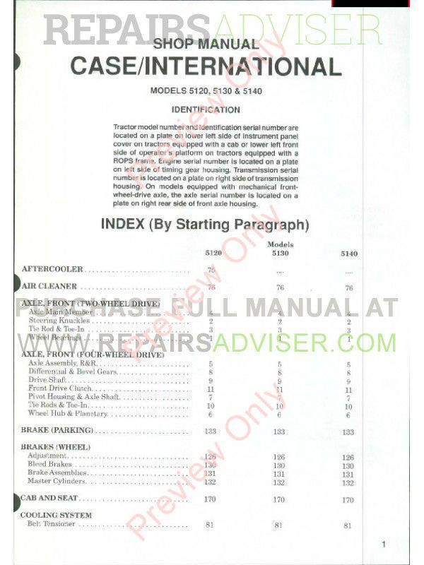 Case International Tractors Models 5120, 5130 & 5140 Shop Manual PDF image #1