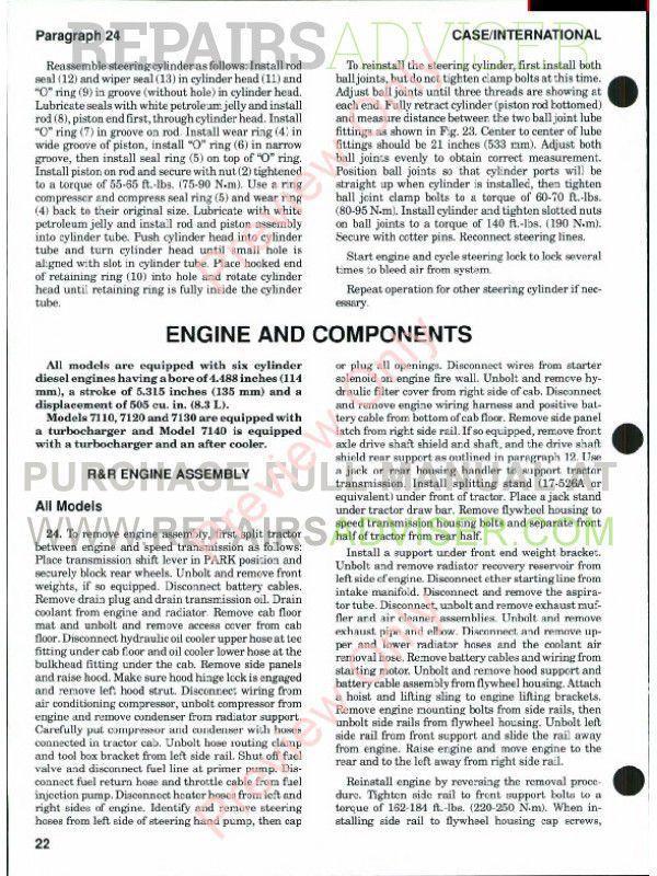 Case International Tractors Models 7110