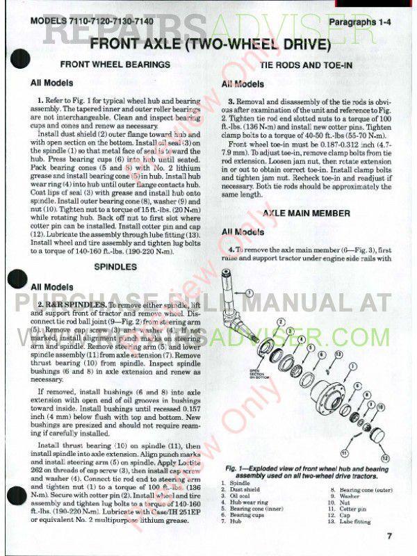 Case International Tractors Models 7110-7120-7130-7140 Shop Manual PDF, Case Manuals by www.repairsadviser.com