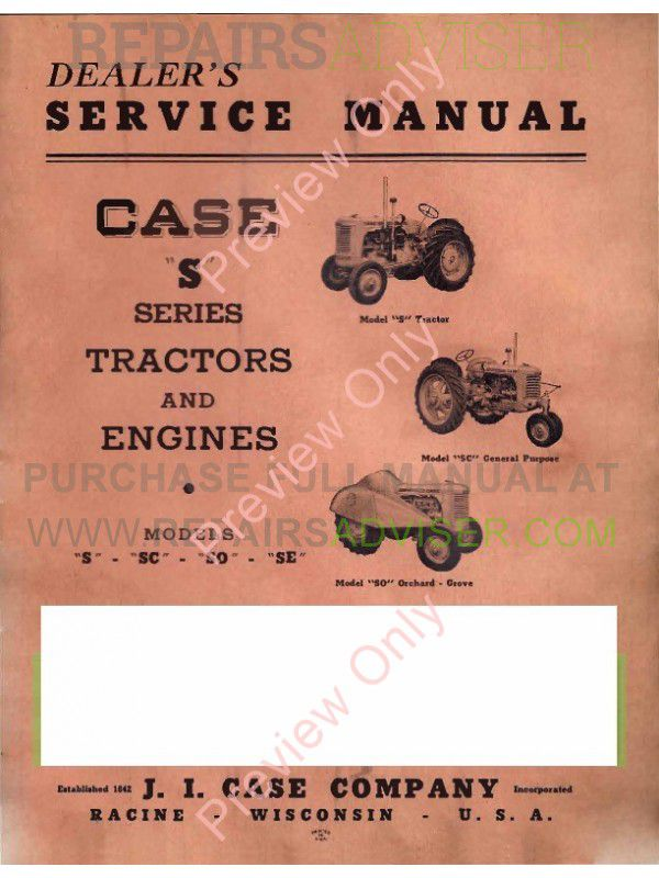 Case S Series Tractors and Engines Service Manual PDF image #1