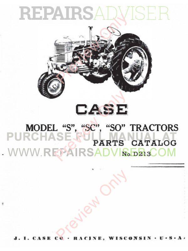 Case Model S, SC, SO Tractors Parts Catalog PDF image #1